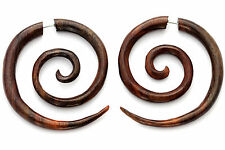 FAKE GAUGE EARRINGS Sono Wood rosewood  F157 carved wooden surgical steel POSTS