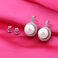 18K white gold filled glittering white pearl&Simulated Diamond stud earring