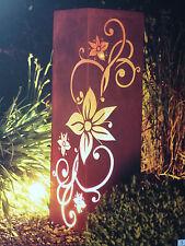 Edelrost Säule Edelweiß  Stele Eisen  Gartendekoration Rost Metall Deko Licht