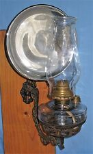 ANTIQUE WALL BRACKET OIL LAMP BACKPLATE HOLDER CLEAR GLASS FONT w/CAP REFLECTOR