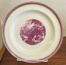 "Wedgwood Purple Transferware 8 1/4""  plate  pastoral Romantic scene Excellent"