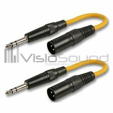 VisioSound 0.2m Male XLR to Stereo TRS Jack Patch Lead - Pack of 2