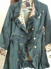 Women's Dereon Blue Jean Jacket TRENCH COAT  Size L  leopard lining