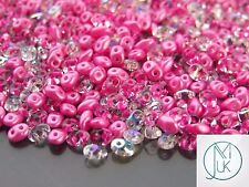 20g Czech SuperDuo Twin Beads Navy Barbie Pink Mix