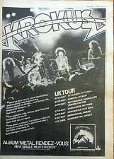 KROKUS Metal Rendesvous TOUR DATES 1980 UK Poster size Press ADVERT 16x12 inches