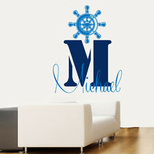 Wall Decal Nautical Vinyl Sticker Boy Personalized Name Nursery Decor Art kk651