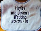 PERSONALISED TERRY COTTON WEDDING FAVOUR BIB, ANY MESSAGE, BOY OR GIRL GIFT