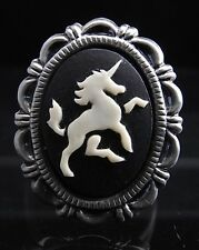Vintage Style Unicorn Cameo adjustable Finger Ring