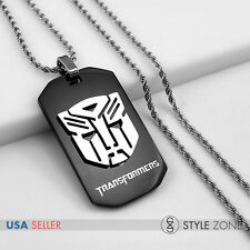 Stainless Steel Transformers Autobots Black Dog Tag Pendant w/ Rope Necklace 13D