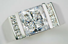 2 ct Men's Square Cut Ring Top Vintage CZ Imitation Moissanite Simulant SS Sz 11