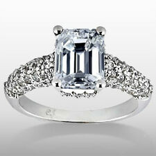 1.72 Carat Emerald Cut Natural Diamond Engagement Ring With Accents E SI1 DGS