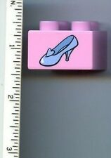 LEGO Duplo, Brick 2 x 2 with Light Blue Shoe Cinderella Glass Slipper Pattern