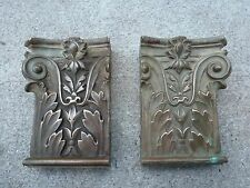 Vintage Pair Cast Bronze Brass Plinth Blocks Fireplace Mantle Corner Moulding