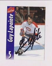 Molson Export Beer Guy Lapointe Montreal Canadiens Autographed Card Black