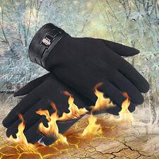 Mens Winter warm Full Finger Smartphone Touch Screen velvet Gloves Mittens black