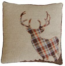 Tartan Stag 18 Inch Brown, Orange & Latte Cushion Cover Woven Tweed Wool Fabric