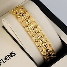 """New 18K Yellow Gold Filled Charms Bracelet Chain 7.7""""Link Fashion GF Jewelry Hot"""