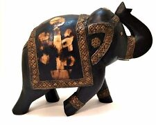 Large Wood Elephant Handcarved Brass Bone Inlay Made in India Estate Sale Find
