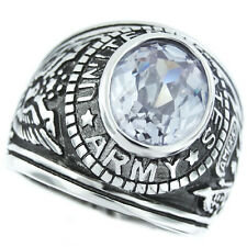 Mens US Army Light Amethys Military Silver Rhodium Plated Ring Size 12