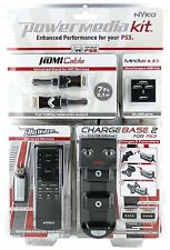 New Nyko 83029 PS3 Power Media Kit,HDMI cable,USB hub,BluWave remote,ChargeBase2