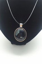 Vintage Witchcraft Black Cat Cabochon Glass Tibet Silver Pendant Chian Necklace
