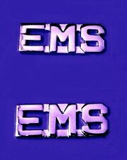 """EMS Collar Pin Set Cut Out Letters 3/8"""" Emergency Medical Services Silver 2467"""