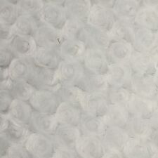 "Swirl Rose Bud Fluff Minky Fur Fabric - Sold By The Yard - 58""/ 60"" - White"