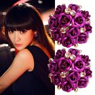 Women Girls Jewelry Elegant Rose Flower Crystal Rhinestone Ear Stud Earring New