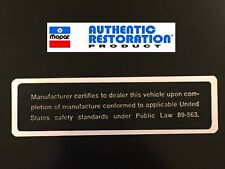 1968 1969 70 Chrysler Plymouth Dodge ALL Safety Act Door Jamb Decal MoPar New