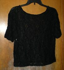 Cinema Black Lace Top Size Medium - 100% Nylon - Short Sleeves