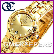 Ladies Oskar Emil Casablanca 304L 23K Gold Dial Swiss Classic Dress Watch £195
