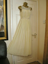 12 JOVONNA MAXI DRESS CREAMY YELLOW CHIFFON BRIDAL / BALL 20S 30'S VINTAGE LOOK