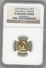 Anguilla $10 1970 DOLPHIN & LOBSTER NGC-PF68 Ultra Cameo Beautiful gold coin