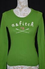 Abercrombie & Fitch Kids Large Creweneck Long Sleeve Shirt Top Green Pink