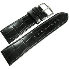 18mm Hirsch Louisiana Mens SHORT Black Alligator-Grain Leather Watch Band Strap