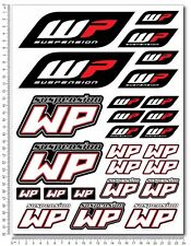 WP White Power shock sponsor decals set 9x12'' 26 stickers ktm exc suzuki honda