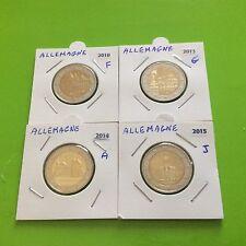 4 pièces de 2 € commémoratives Allemagne 2010 F /2013 G / 2014A / 2015 J