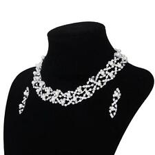 Bridal Bride Wedding Twisted Necklace Earring Jewelry Set Pearls Crystal