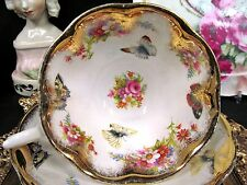 ROYAL ALBERT TEA CUP AND SAUCER AVON WIDE MOUTH BUTTERFLY PATTERN ROSE TEACUP