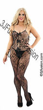 Ladies Sexy Black Floral Lace Catsuit Bodysuit Lingerie BOXED FREE POSTAGE (AO)