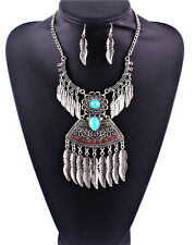 N1701 Gypsy Retro Tibet Silver Plated Turquoise Leaf Tassel Necklace Earring Set