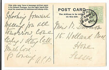 With Love & Best Wishes, Worthing 1905 PMK to Hove, Sussex,