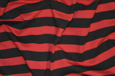 RED & BLACK SAILOR STRIPE T-SHIRT SINGLE JERSEY STRETCH FABRIC BY THE METRE