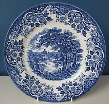 "J BROADHURST & SONS ""THE ENGLISH SCENE"" BLUE & WHITE PICTURE PLATE 9 5/8"" - Good"