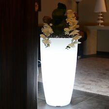 VASO RESINA TONDO LUMINOSO LED MULTICOLOR BATTERIA ALTEZZA 70 CM