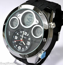 Henley Mens Crazy BIG Black Analogue-Digital Sport Watch Alarm LCD Quartz Chrono