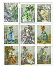 Fabric Panels Marie Antoinette Period Dress Set of 9 ATC Fabric Blocks