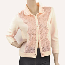 New VICTORIA'S SECRET Lambswool Angora Rabbit Lace Cardigan Sweater Large Pink