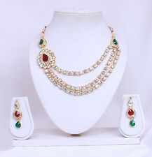 Designer Party Wear Fashion Jewellery Bollywood Gold Plated Necklace Earring set