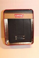Levi's Men's Black Leather Signature Wallet Bi-Fold in Red Metal Gift Tin NEW